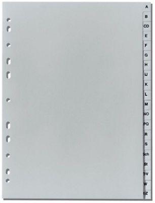 2x Ordnerregister A4 A-Z 20-teilig Grau überbreit für Prospekthüllenablage