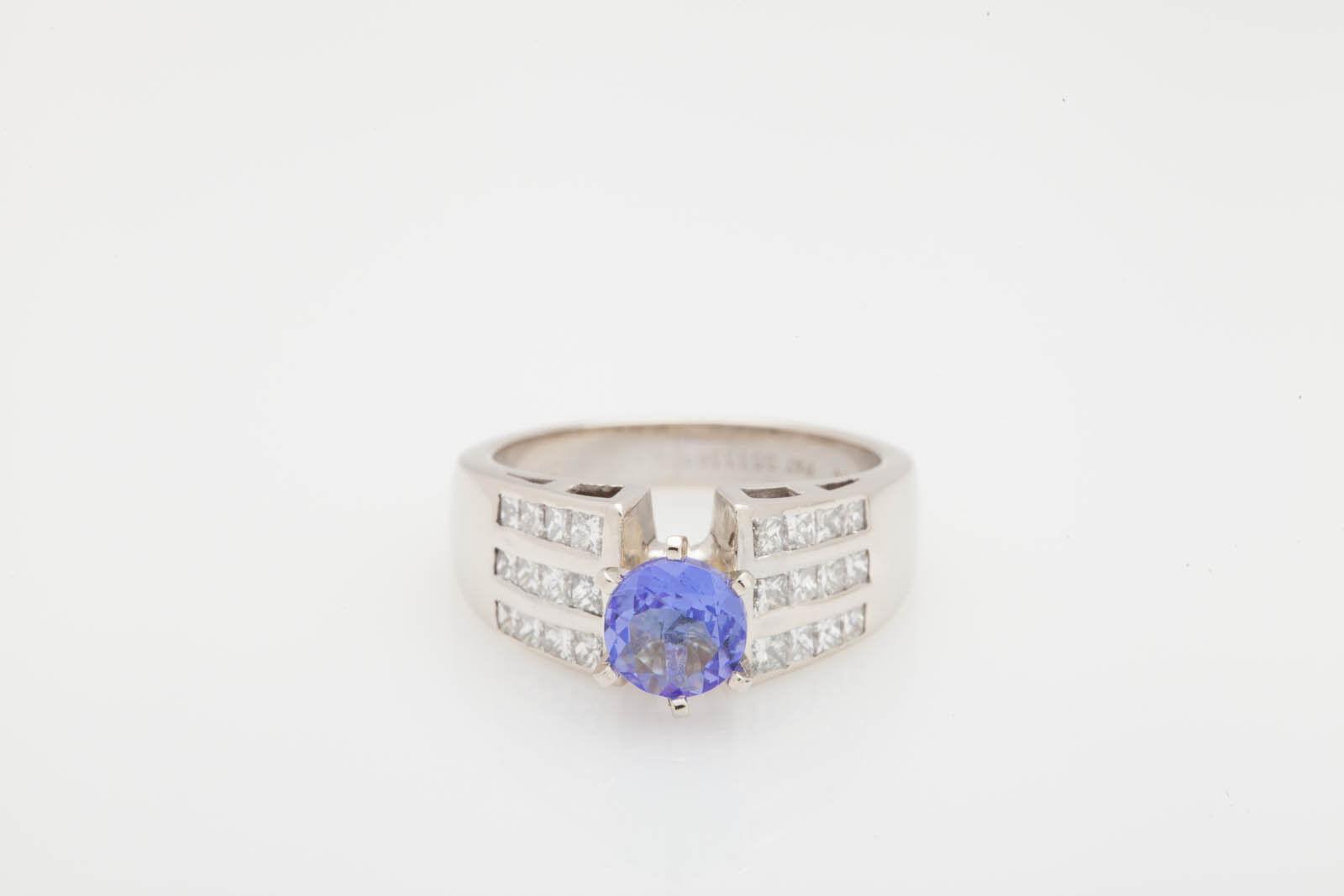Estate  8000 3ct Tanzanite Princess Cut Diamond 14k White gold Wedding Ring