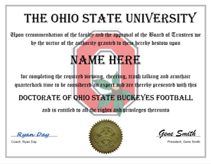 THE-OHIO-STATE-BUCKEYES-FOOTBALL-PERSONALIZED-FAN-DIPLOMA-GREAT-GIFT