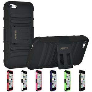 AMZER-HYBRID-RUGGED-HARD-RUBBER-SOFT-COVER-CASE-W-KICKSTAND-FOR-APPLE-IPHONE-5C