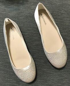 19c7cbe37 Women's Sparkling Party Wear Casual Shoes Ballet Flats Size 4 Beige ...