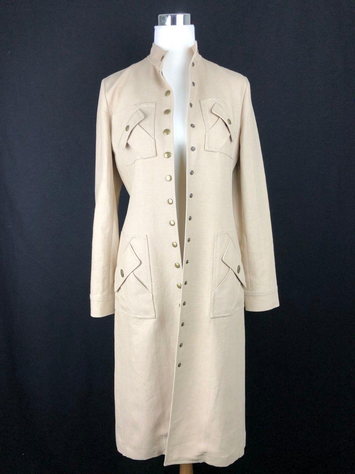 CELINE Runway Women's Tan Linen Coat Dress - Size 38 - US 8