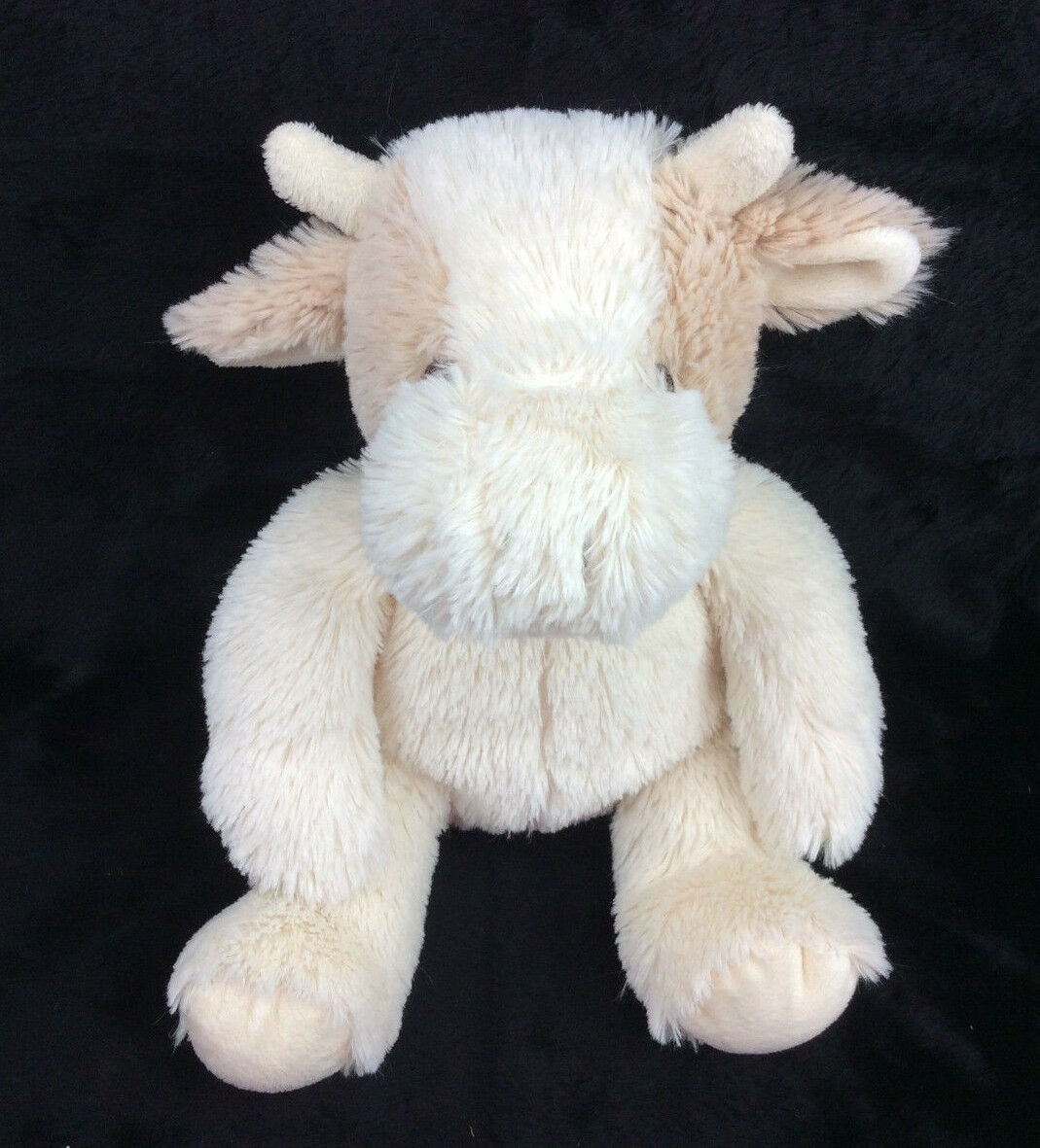 Bean Sprout Cow Baby Soft Toy Brown Off White Plush Stuffed Animal 12