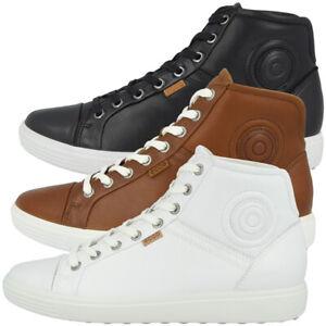 Details zu Ecco Soft 7 Mid Ladies Schuhe Damen Leder Halbschuhe High Top Sneaker Biom Soft