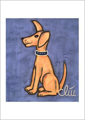 JACQUELINE DITT - Der wachsame Hund A2 gross DRUCK Bild Hunde dog