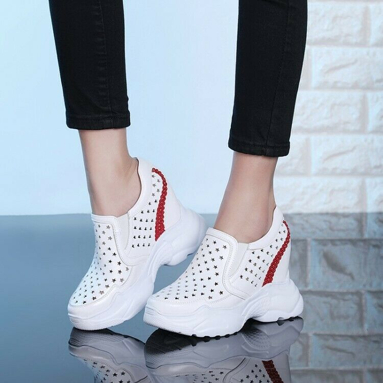 Ladies Leather High Wedge Heel Hollow out Sports Casual shoes Trainers Athletics