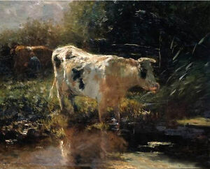 Art-oil-painting-Pieter-Isaaczs-Rancher-with-cows-by-pond-in-sunset-landscape