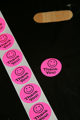 100 Hot Pink Smiley Thank You Stickers large 1.5 inch Round All FREE shipping