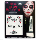 Day of The Dead Face Jewellery Stickers Tattoos Halloween Make up