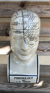 "8"" Phrenology Head Ceramic L N Fowler Replica Scientific Medical"