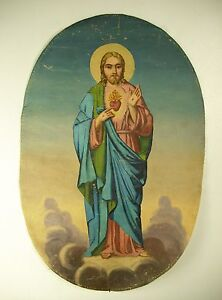 Oil-on-Canvas-Religious-The-Sacred-Heart-Of-Christ-Jesus-XIX-Th