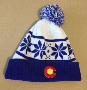 Colorado Rockies NHL Winter Knit Hat Beanie Pom Snowflake White Blue