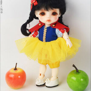 "Impartial 1/12 Bjd 5.7"" High Bebe Doll Size Snow White Dress Set yellow"