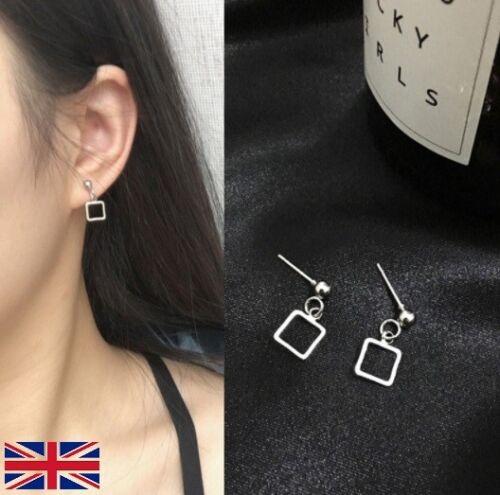 Women/'s Silver Square Drop Stud Earrings UK Free P/&P