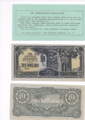 PRICE REDUCED 6 RARE TEN DOLLAR MN NOTES MALAYA //JAPANESE MILITARY CURRENCY