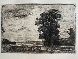 Angèle delasalle high water engraving etching landscape has montigny beauchamp