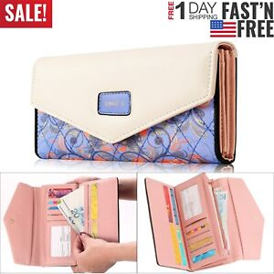 Women-Leather-Envelope-Clutch-Wallet-Long-Card-Holder-Purse-Bag-Handbag-Fashion