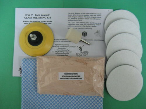 "GLASS POLISHING KIT~100g CERIUM OXIDE 3.5μ~3/"" PAD~FINE SCRATCH~WINDSCREEN ~GLASS"