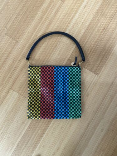 Claire V Woven Leather Clutch Bag - image 1