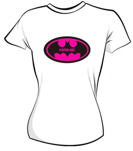 PERSONALISED SUPER HERO YELLOW OR PINK IRON ON T SHIRT TRANSFER LIGHT /& DARK