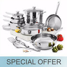15 Pc. | Wolfgang Puck Cooking stainless steel Cookware Set Pans Pots Glass Lids
