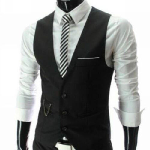 Mens Classic Formal Business Vest Slim Single Breasted Wedding Tuxedo Waistcoats