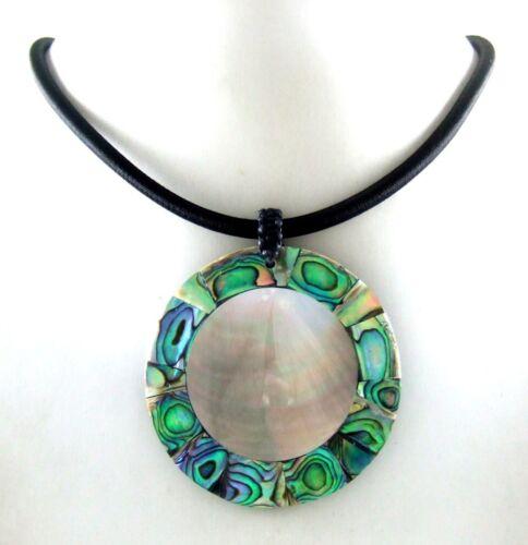 Natural Abalone Coquille de Nacre Pendentif Perles Cordon Collier Bijoux EA190