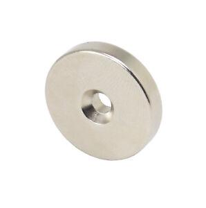 Starker-runder-Neodym-High-Tech-Magnet-25x5mm-N52-mit-Loch-11-kg-Zugkraft