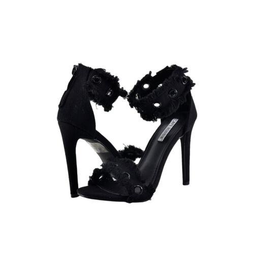 Womens Shoes Cape Robbin Alza 41 Denim Fringed Open Toe Heel Black *New*