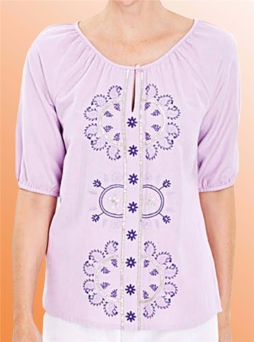 Ladies Vintage Top Retro Blouse Simply Be Embroidered Linen Mix Size 18 UK Lilac