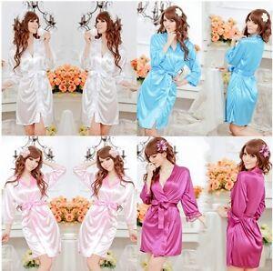 Sexy-Lady-SILK-LACE-Kimono-Dress-Gown-Bath-Robe-Babydoll-Lingerie-G-string-6-12
