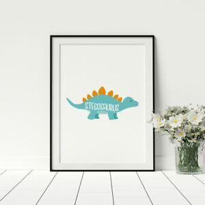 Stegosaurus Children/'s Nursery Artwork For Toddlers Bedroom Nursery Wall