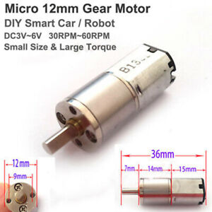 Mini-12mm-Full-Metal-Gearbox-Gear-Motor-DC-3V-6V-60RPM-DIY-Smart-Car-amp-Robot