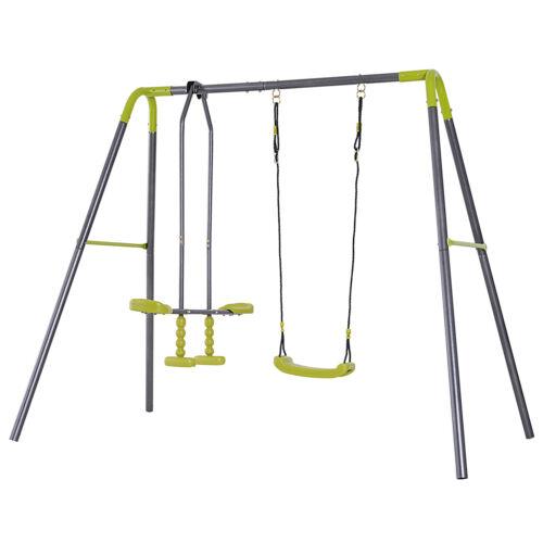 HOMCOM Set Altalena Cavalluccio per Bambini da Giardino Verde Metallo
