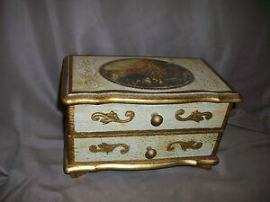 Vintage Mele Florentine Italian Style Wooden Jewelry Box W Drawer No Music Box Decorative Arts Toleware