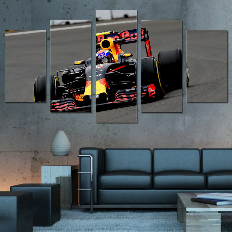 Formula 1 Car Racing 5 Panel Canvas Print Wall Art