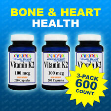 3 Pk Natural Vitamin K2 - Menaquinone 7 (MK 7) 100 mcg 3pk =600 Caps - USA/ CGMP