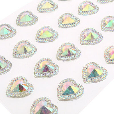 24pcs x 16mm Self Adhesive Resin Pointed Heart Gems AB Clear Diamante