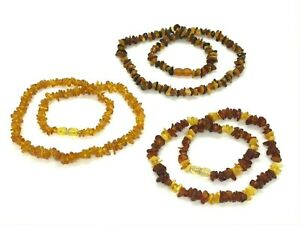 AMBER-NECKLACE-Lot-3-Natural-BALTIC-AMBER-Beads-Polished-Ladies-Jewelry39g-10776