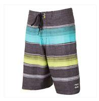 2015 Mens Billabong Barra X Boardshorts $60 32 Mint Grey Swimsuit Stripes