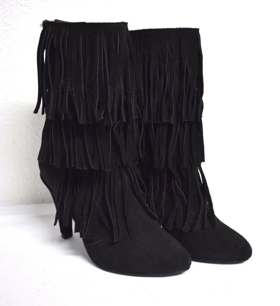 New Catherine Malandrino Trinnitie Fringe Suede Black Ankle Bootie Boots 6