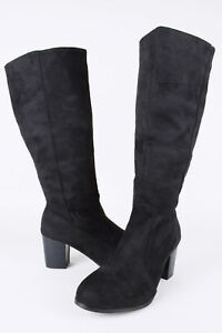 Up Black Returns Knee Free High Zip Block Boot Heel Lms Suede qXwRBTq7