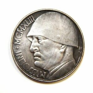 20-LIRES-1943-ITALY-MUSSOLINI-EXONUMIA-SILVERED-COIN-TOKEN