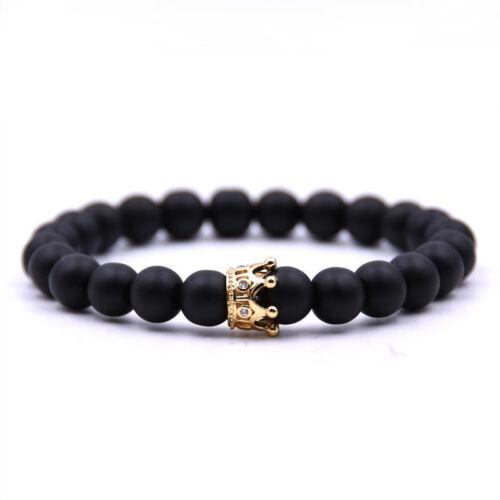 Men/'s Crown Natural Stone Matte Black Charm Copper Bead Fashion Bracelets Gifts