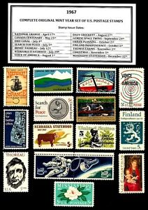 1967-COMPLETE-YEAR-SET-OF-MINT-MNH-VINTAGE-U-S-POSTAGE-STAMPS