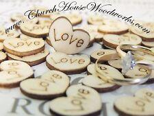 100 wood love hearts for rustic wedding, venue decor, confetti, invitations USA
