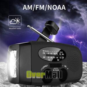 Emergency Solar Hand Crank Weather Radio Power Bank Charger FlashLight Spotlight