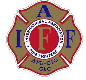 """4/"""" IAFF Decal Exterior Mount Gold Red and Blue Retired Please Read Auction"""