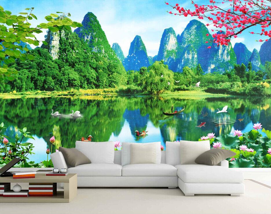3D Hills Lotus Pond Trees Lake Wall Paper Wall Print Decal Wall AJ WALLPAPER CA