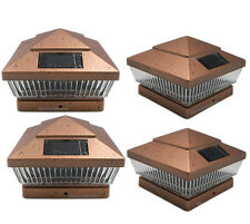 4 Pack 6x6 Copper PVC Outdoor Garden Solar Post Deck Cap Square Fence LED Lights